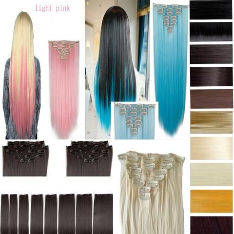 17 parasta ideaa hair extensions cost pinterestiss 26 66cm 170g straight 8pcsset full head clip in hair extensions color hair blue purple pink blonde brown gray synthetic hair pmusecretfo Images