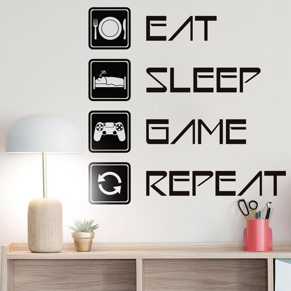 Eat Sleep Game Repeat Gaming Setup Wall Decal