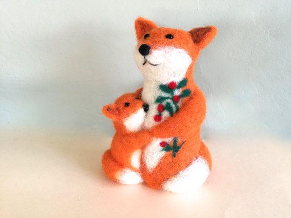 Mama fox baby fox cake topper fox artwork red fox by Felt4Soul