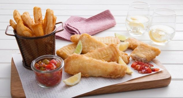 Better than takeaway fish and chips and just as easy! Try our take featuring a delicious homemade salsa.  #pescetarian #fish #recipe
