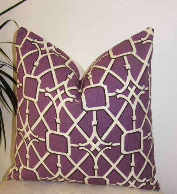 "$32 each Trellis Purple Pillow Cover - Decorative Pillowcase - 18"" Waverly Network Pillow Cover"