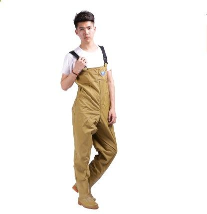 Fishing Waders - Fishing Rain Pants Man Winter Breathable Chest Waders 0.75mm Khaki vadeador Fishing wader de pesca Fishing Boots Rubber Material