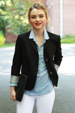 all the staples: black blazer / chambray / white denim / red lipstick