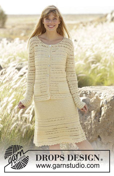 """Daniella by DROPS Design  vanaf:  46.15€ Gehaakt DROPS vest met zakken en rok met kant en waaierpatroon, wordt van boven naar beneden gehaakt van """"Alpaca""""."""