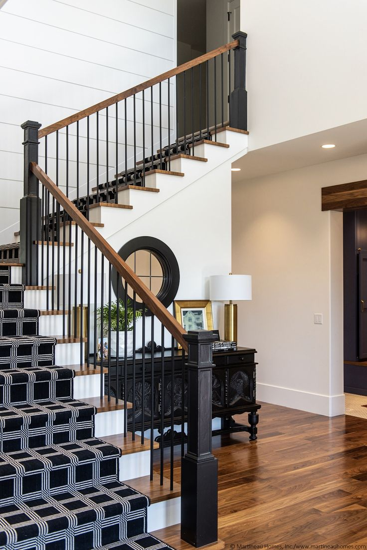Loving everything about these stairs! The black newel ...