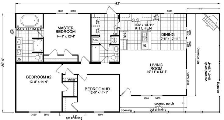 double wide mobile home floor plans | Bedroom Double Wide Mobile Home Floor Plans Doublewide 3 bed 2 bath ...