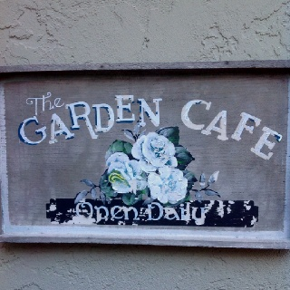 Garden cafe signGardens Ideas, Fantasy Projects, Cafes Signs, Gardens Cafes, Gardens Signs, Cornerstone Cafes, Open Anytime, Moliendo Cafes, House Decor