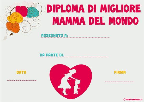 Diploma per la festa della mamma da stampare gratis