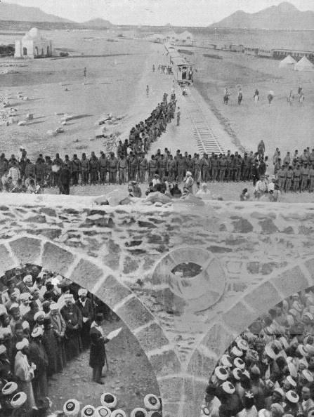 Tamamı Osmanlı Projesi ,Hicaz Demiryolu  : Ottoman & 1910s: Engineer Mouktarbey, chief of the Hejaz Railway Project, making a speech at the line's inauguration - Madinah, Saudi Arabia