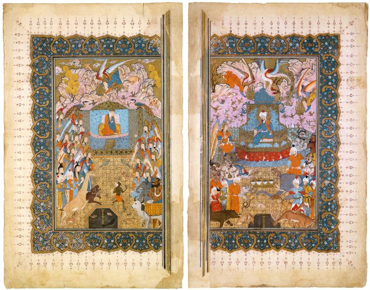 "Double frontispiece from a copy of Firdawsi's Shahnama. ""Solomon and Bilqis Enthroned"" Iran, Shiraz; c. 1540-1550. the David collection"