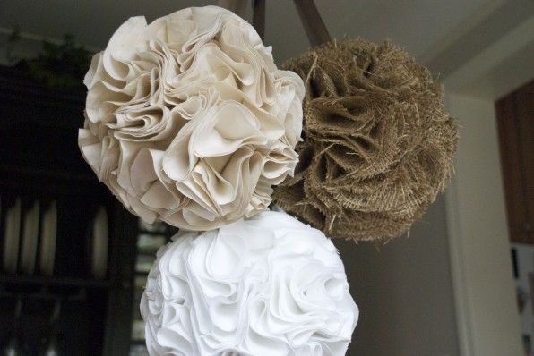 More durable than tissue paper.  Styrofoam ball and pinned fabric.