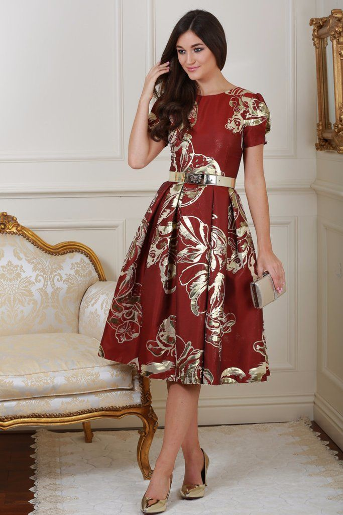 Diane Red and Gold Print Fit and Flare Dress