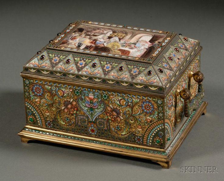 Fine Khlebnikov Goldwashed, Enamel And Jeweled Silver Casket