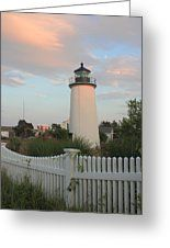 Plum Island Lighthouse And Picket Fence Greeting Card