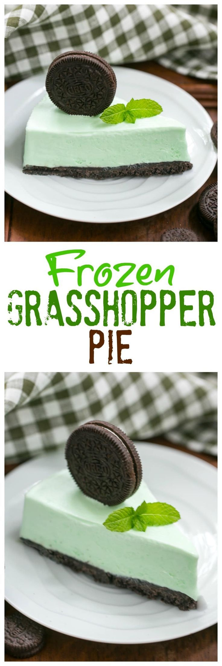 Grasshopper Pie | Mint lovers will swoon with every bite of this frozen dessert! @lizzydo