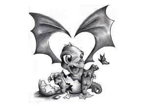 Free Designs  Little Baby Dragon Tattoo Wallpaper