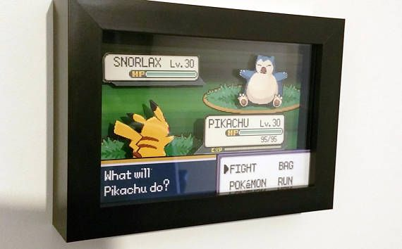 Hand Made Shadow Boxes Featuring Battle Scene From Pokemon Fire Red Leaf Green Pikachu Vs Snorlax As Pictured 20 Custom A Shadow Box Pokemon Custom Boxes