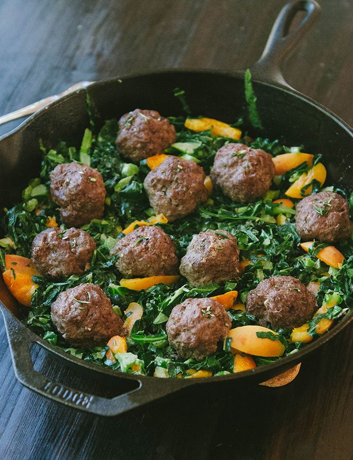 Honest Whole 30 Recap, Week Three   Rosemary Meatballs With Dijon Collard Greens and Apricots