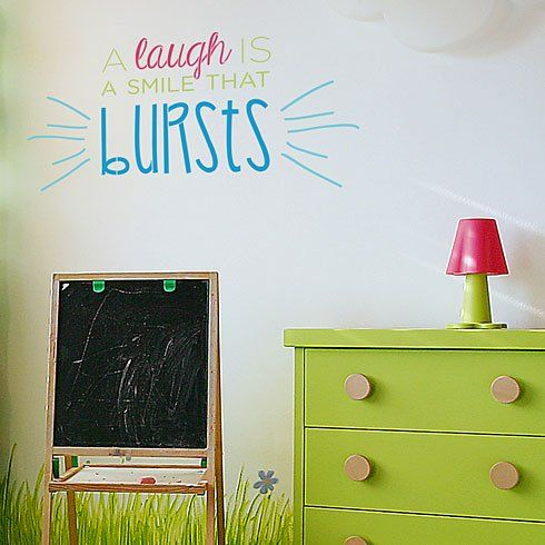 Cutting Edge Stencils - A Laugh Is A Smile That Bursts Wall Quote Stencil