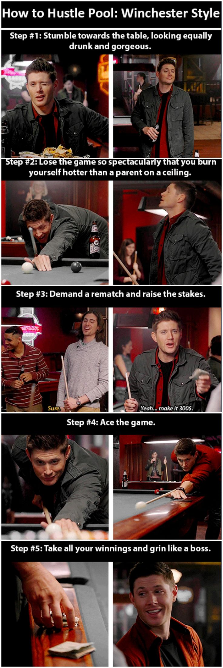 "How to hustle pool like a Winchester [gifset] - 10x17 Inside Man ""...that you burn yourself hotter than a parent on a ceiling.""  I CANNOT EVEN!!"