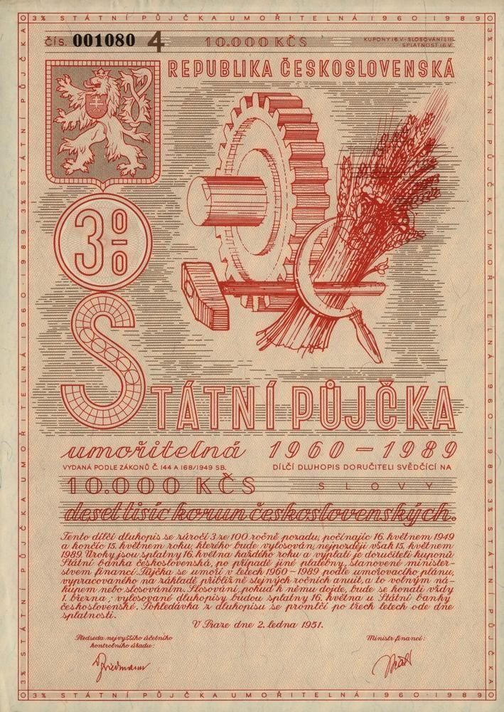 Státní půjčka umořitelná 1960 - 1989 na 10 000 Kčs. Praha, 1951.