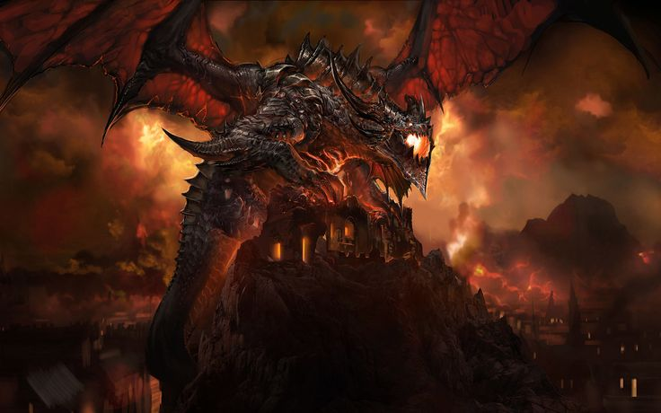 Vídeo Game World Of Warcraft  Dragão Sky Fogo Deathwing (World Of Warcraft) Papel de Parede