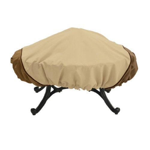 Veranda 44-Inch Round Fire Pit Cover by Classic Accessories. $20.88. Click-close straps lock around the legs to secure the cover on windy days. Veranda fire pit cover will protect your fire pit and screen from dirt and damage caused by harsh outdoor elements. Gardelle protective fabric system won't crack in cold weather. Veranda fire pit cover provides elegant protection for fire pits against the elements. Front and back handles for easy fitting and removal, a...