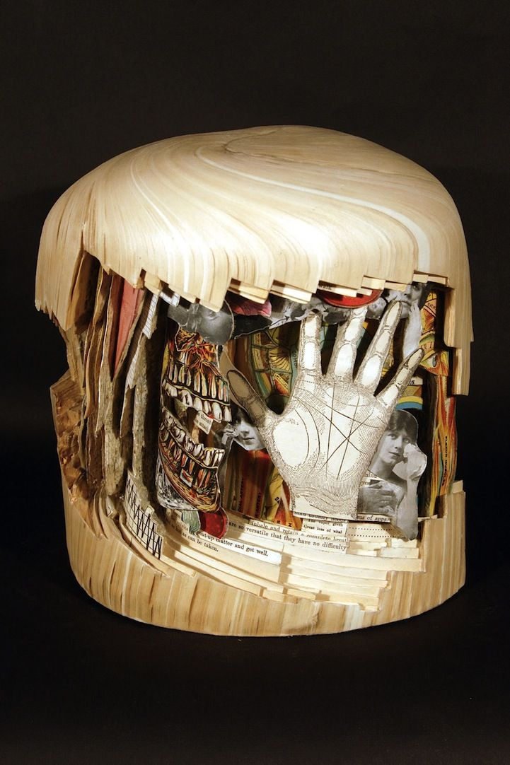 Using knives, tweezers and surgical tools, Brian Dettmer carves one page at a time. Nothing inside the out-of-date encyclopedias, medical journals, illustration books, or dictionaries is relocated or implanted, only removed.