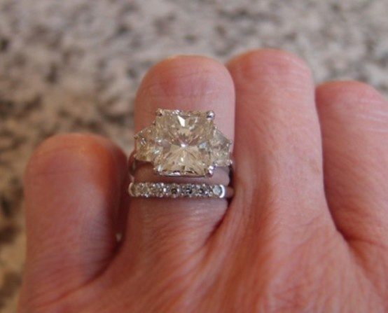 Radiant Cut Side Stone Engagement Ring Beautiful Rings