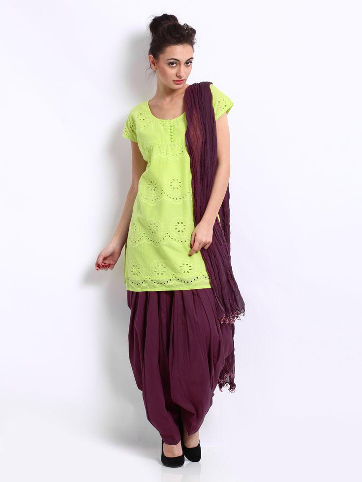 Neels Women Lime Green & Purple Hakoba Embroidered Patiala Kurta Set