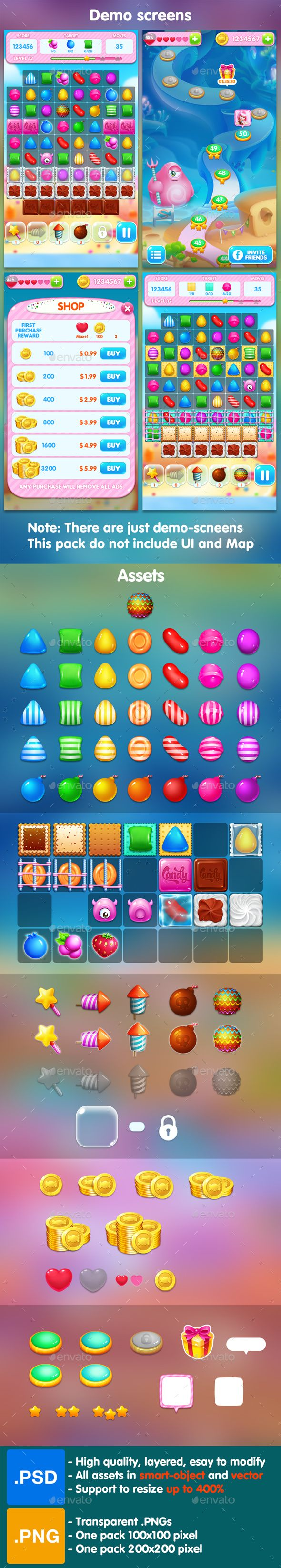 Candy - Match 3 Game Assets - Game Kits Game Assets   Download: https://graphicriver.net/item/candy-match-3-game-assets/19192112?ref=sinzo