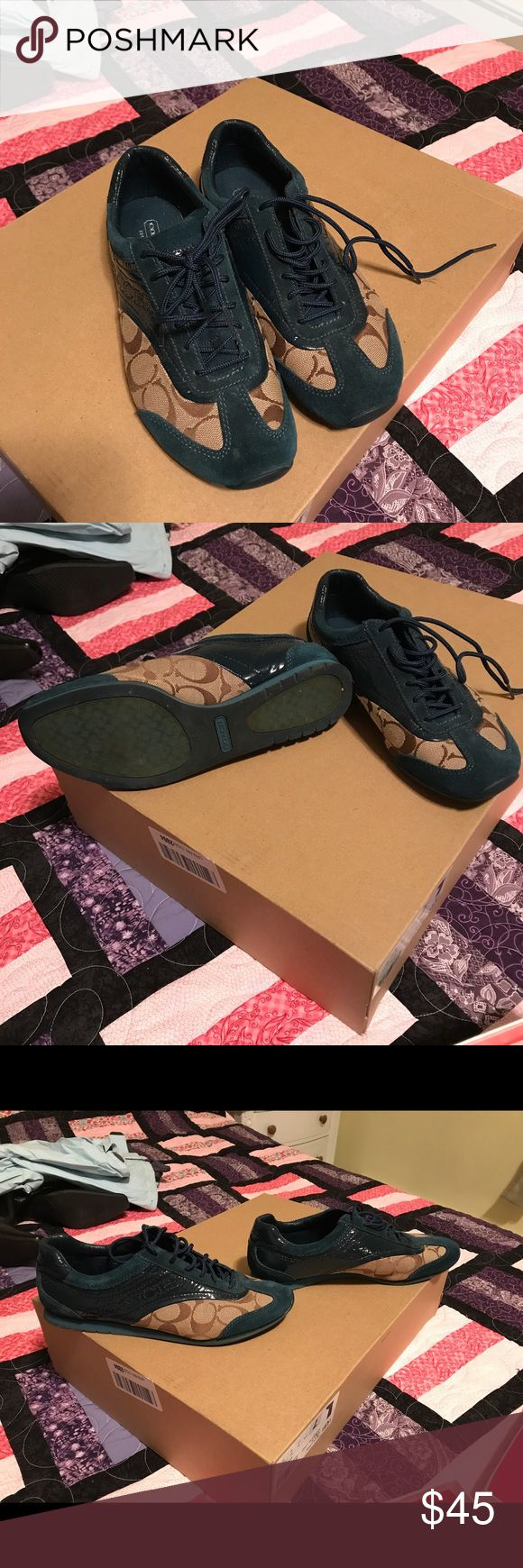 Coach Sneakers Size 8 Authentic coach sneakers size 8. In good condition. The turquoise color is suede and patent leather. Coach Shoes Sneakers