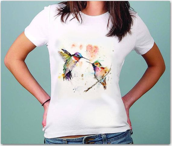 Hummingbird women's T-Shirt ,Hand pressed  by TShirtpanic Printed on Sols MISS Short Sleeve Fine Jersey 100% Cotton All Sizes, White