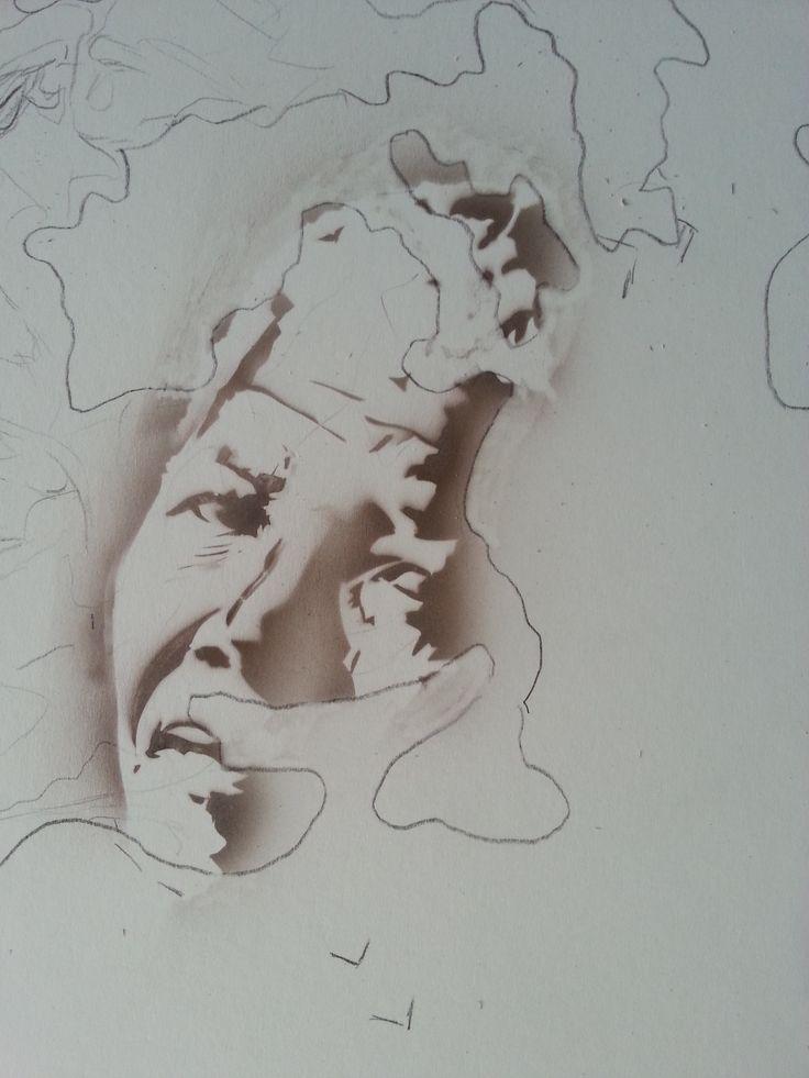 We are the World #1e - detail Mandela (25.12.14), Schoellershammer G4 board, 100x100 cm, Melissa's Burnt Umber, Iwata Micron Custom cm sb 2