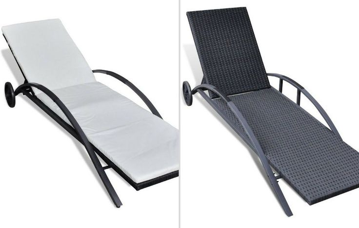 Black Pool Rattan Sunbed Lounger Adjustable Garden Hotel Spa Chaise Bed Chair