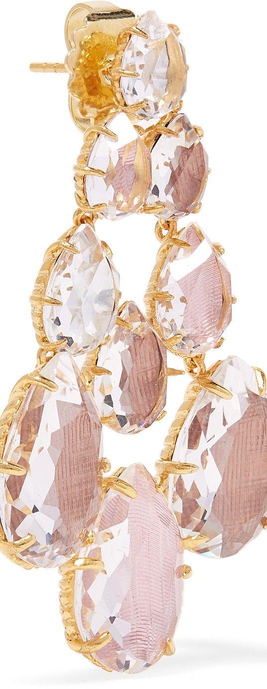 LARKSPUR & HAWK Catarina Chandelier gold-dipped quartz earrings