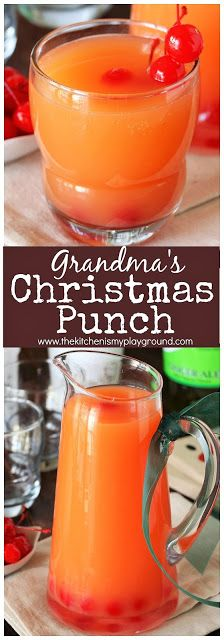 Grandma's Christmas Punch ~ A perfect holiday punch for big Christmas parties or small gatherings alike. Great to serve with a tray of cookies, like Grandma does! #Christmas #Christmaspunch #punchrecipes #partypunch #thekitchenismyplayground www.thekitchenismyplayground.com