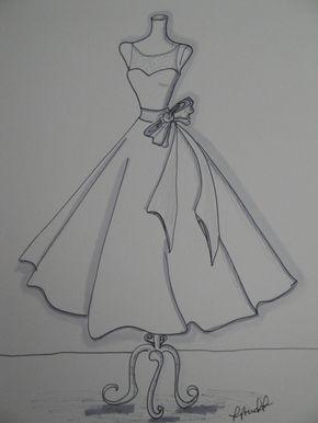 "11 ""x14"" custom wedding dress illustration sketch"