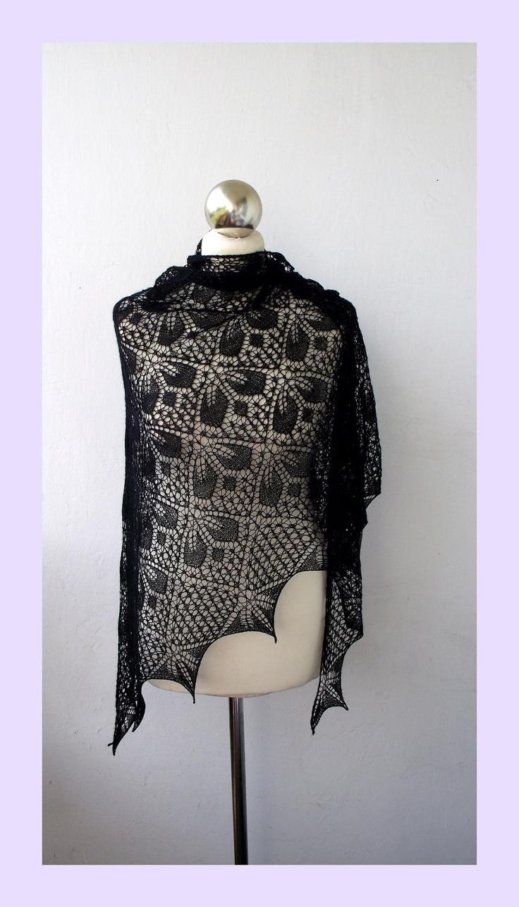Black  hand knitted lace shawl,cobweb triangle shawl