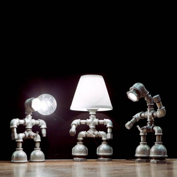 Galvanised pipe - robo lamps
