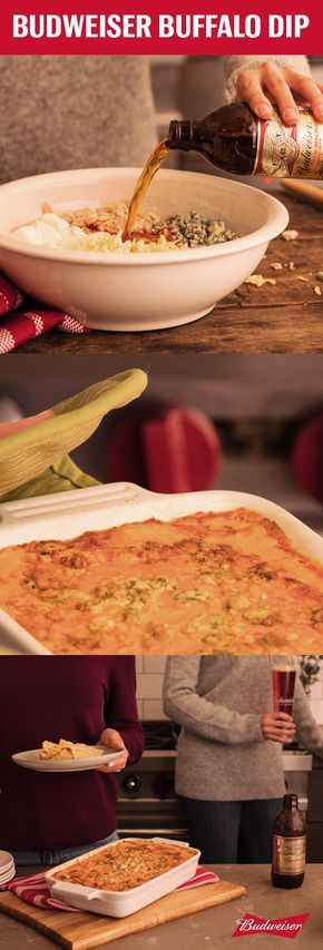 Sports and food go hand in hand with fall. So we're pairing a fan favorite with the Budweiser 1933 Repeal Reserve in this Buffalo Chicken Dip. In a small saucepan, combine butter, flour, and the Repeal Reserve. Once thickened, pour the mixture over shredded chicken, cream cheese, pepper jack, blue cheese, and hot wing sauce. Put the whole mixture in a baking dish and pop in the oven until it's brown. All that's left are some chips and ice cold Amber Lager to turn the heat up on football…