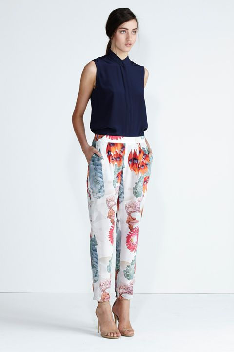 Secret South SS13/14 collection. Onyx Shirt in Midnight. Wildflower Pant in Red Floral. www.secretsouth.com.au