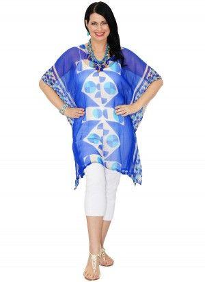 Dulce Mid Length Blue & Cream Print Kaftan Top.  $24.95