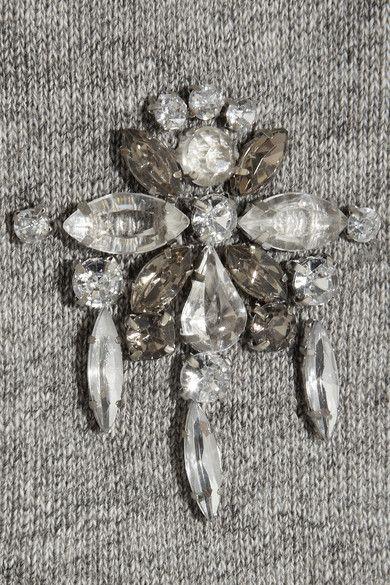 Coton gris clair Ornements en cristaux transparents et gris Finitions côtelées S'enfile simplement 100% coton Lavage à la main
