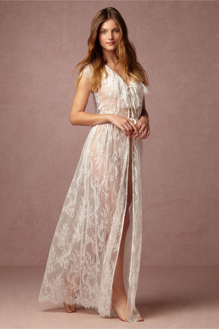 BHLDN Letizia Lace Robe in Bride Bridal Lingerie at BHLDN ...
