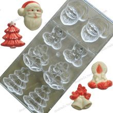 8cups/mold 3D Christmas Mold Chocolate,Christmas Santa Claus Christmas Tree Bells Decorated Polycarbonate Chocolate Molds Tools(China (Mainland))