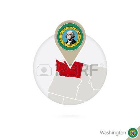 Mapa del estado de Washington de Estados Unidos y la bandera en ...