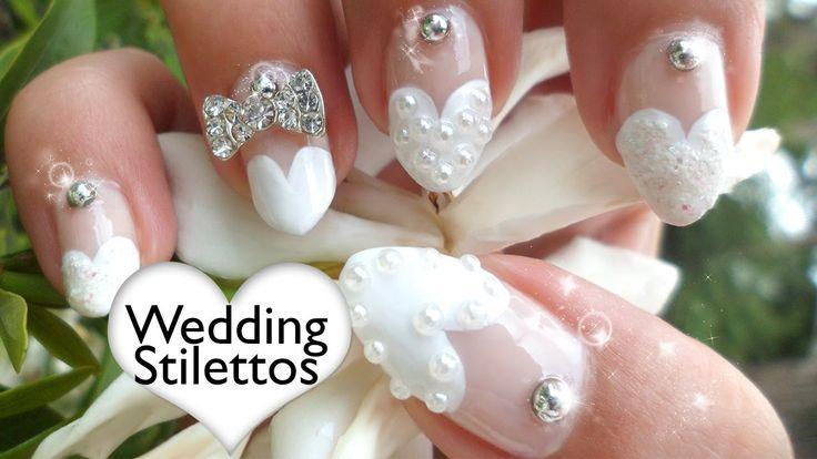 Heart Tip Nails Tutorial ❤ Wedding Stilettos (non-dominant hand)