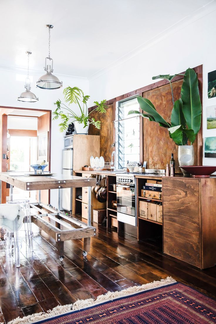 Timber kitchen from rustic bohemian cottage in Newcastle, NSW. Photography: Maree Homer   Styling: Kerrie-Ann Jones
