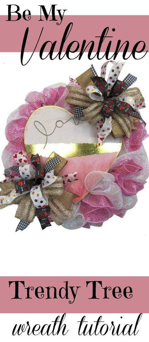 2018 Valentine Wreath Tutorial - Trendy Tree Blog| Holiday Decor Inspiration | Wreath Tutorials|Holiday Decorations| Mesh & Ribbons